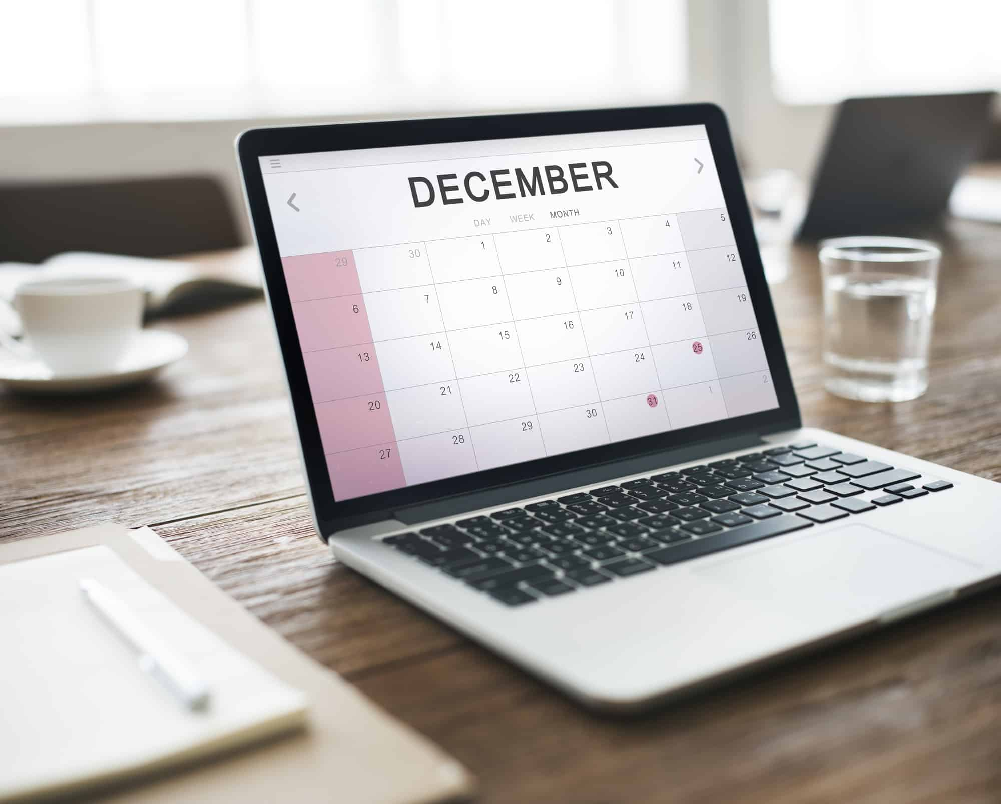 December Monthly Calendar Weekly Date Concept